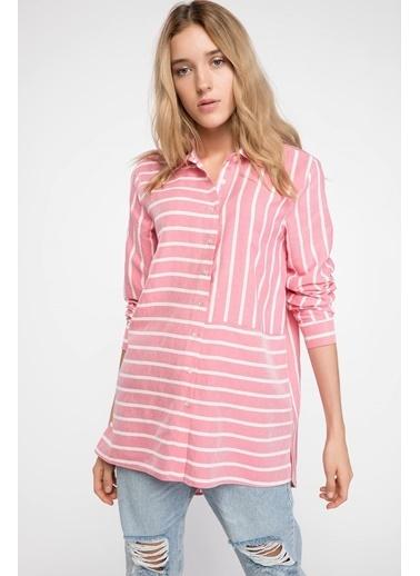 DeFacto Çizgili Gömlek Tunik Kırmızı